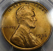 1936-d Lincoln Cent Gem Bu Pcgs Ms-65 Rd... Very Flashy Beautiul Fully Red