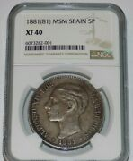 1881 81 Msm Spain 5 Pesetas Alfonso Xii Ngc Xf 40 Xf40 Key Date And Mint Coin