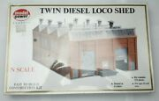 Model Power 1550 Twin Diesel Loco Shed Kit N Scale Mib Made In West Germany