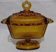 Indiana Glass Amber Compote Dish Rectangle Footed With Lid Vintage