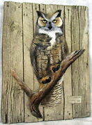 Hand Painted Barnwood Relief Sculpture G Turner Coa 1992 Great Horned Owl