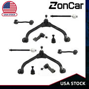 12pc For 02-04 Jeep Liberty Front Upper Control Arm Ball Joint Tierod Sway Link