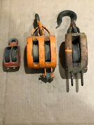 3 Antique Vintage Wood Pulley Pully Block And Tackle 2 Double And1 Single