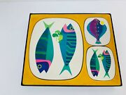 Rare Vintage 1960s 70s Fish Placemat And Coaster Set Retro Table Mats