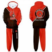 Cleveland Browns Men Outdoor Tracksuit Sports Hooded Hoodie Sweatpant Jogger Set