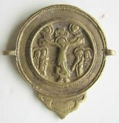 Russian Icon Bronze Antique 19th Cent. Holy Trinity And Crucifixion Double Sided
