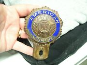 Original 1940and039s Vintage Ww2 American Legion License Plate Topper Ford Gm Chevy