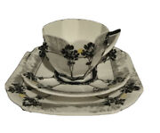 Antique Shelley Queen Anne Trees And Sunset Trio Tea Cup Saucer And Plate Set