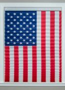 Usa Flag Window Display Shade Patriotic 4th Of July Paper Pleated 32 X 64 G221