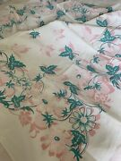 Charming Vintage Hand Printed Cotton Floral Tablecloth 48 X 40 Excellent