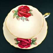 Rare Paragon Lovely Floating Red Cabbage Rose Peach Pink Teacup And Saucer