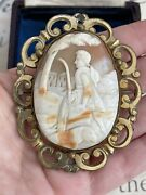 Antique 19th Brooch Victorian Carved Shell Cameo Depicting The Good Shepherd