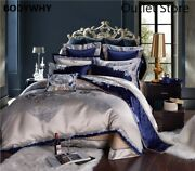 Luxury Silk Cotton Satin Jacquard Chinese Bedding Set Bedding Bed Sheet Cover