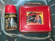 Vintage Tom Corbett Lunchbox And Thermos, Space Cadet Metal Lunch Box, Tin Red