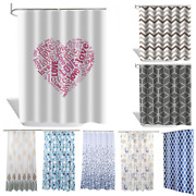 Opaque Waterproof Shower Curtains With Hook Rings Bathroom White Black Anti-mold
