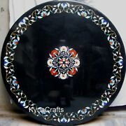 48 Inch Marble Restaurant Table Shiny Gemstone Inlaid Work Dining Table For Home