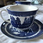 Johnson Bros - Blue Willow Tea - 3 Cups 3 Saucers And 1 Dessert Plate