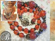 Antique Chinese Export Silver Filigree Carnelian Bead Necklace Estate Jewelry