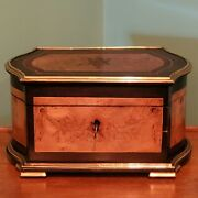 Antique French Marquetry 19th Century Brass Bound Large Table/work Box