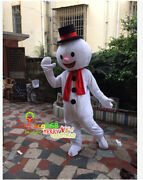 Xmas White Snowman Mascot Costumes Frozen Parade Suit Party Adults Dress Cosplay