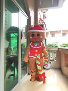 Xmas Gingerbread Man Oven Break Mascot Costume Tailor Suit Outfit Cosplay Unisex