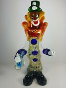 Fabulous Large And Heavy Retro Vintage Murano Glass Clown Holding Bottle 15 Tall