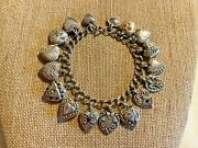 Vintage 1940and039s Sterling Silver Puffy Heart Charm Bracelet 17 Charms 30.8g