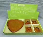 Gold Indiana Glass Daisy Button Vintage Lancaster Snack Tea Set W Box Free S/h