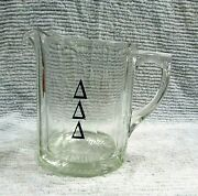 Vintage Tri Delta Fraternity Heavy 4+ Lb Clear Glass 5x7 Beer Pitcher Free S/h