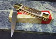 Kissing Crane Italy Stiletto Stag Handle Old Stock Folding Blade Knife Kc46s