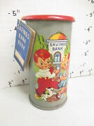 Girl Boy Dog 1950s Tin Can Advertising Toy Coin Savings Bank Lawrence Specialty