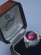 Antique, Art Deco Ruby Cabochon Ring, 14k Gold Size 6.5