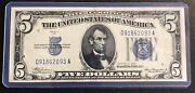 1934 5 Silver Certificate Blue Seal In High Grade Condition See Pics