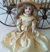 Almy 8/0 German Porcelain Doll 16 Inch Tall Crochet Dress With Hat + Hat Pin