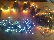 Lot Of 9 Christmas String To String Lights - White Lights And Some Leds