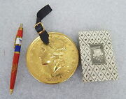 Vintage American Airlines Twa Swag Lot Gold Coin Baggage Tag Pen Playing Cards