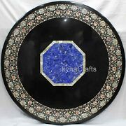 42 Inch Marble Hallway Table Lapis Lazuli Stone Inlaid Work Dining Table Top