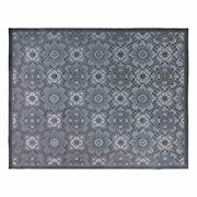 22431 Indoor Outdoor Rug 9x13 Extra Large Abstract Floral Medallion Gray
