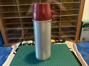 Vintage Metal Thermos 2284h Pint Size Red Cap Vacuum Bottle Usa
