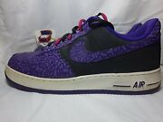 Nike Air Force 1 '82 Cracked Low Black/court Purple Godzilla Size 14 Pre Owned