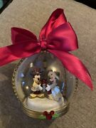 Disney Mickey Minnie Mouse Victorian Christmas Decoration Ornament Bauble Glass