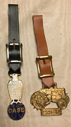 Case Vintage Construction Machine Watch Key Fobs Lot Of 2 Leather Rare