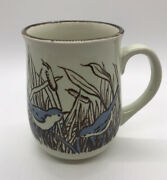 Vintage Northcraft Korea Pottery Coffee Mug With Blue Birds In Cattails