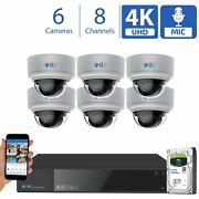 8 Channel Nvr 6 4k Microphone Varifocal Ai Ip Poe Dome Security Camera System