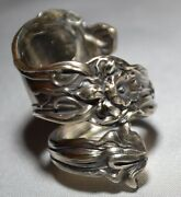 Alvin Majestic Circa 1900 Antique Sterling Floral Spoon Ring Sz 7 Free Ship
