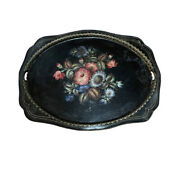Beautiful Giant Painted Floral Antique Victorian Toleware Tray Platter 27x21
