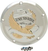 Drag Specialties Live To Ride Derby Cover Gold/chrome Harley Davidson