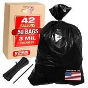 3 Mil 42 Gallon Contractor Garbage Bags - Heavy Duty Black Trash Bags With 50