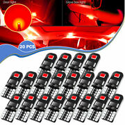 20x Pure Red T10 2825 168 Led Tail Dash Tag Lamp Side Marker Parking Light Bulbs