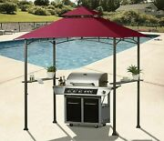 8'x5' Outdoor Barbecue Grill Gazebo Canopy Tent Patio Bbq Shelter With 10 Hooks